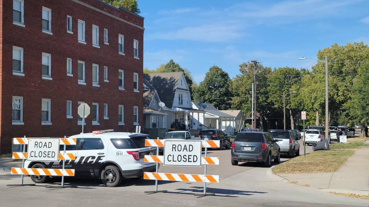 Road closed signs block the 300 block of N. Saunders Avenue in Hastings Tuesday.