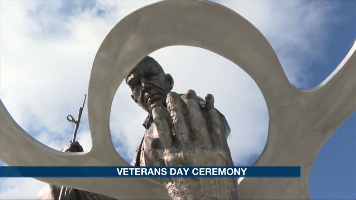 "The Central Nebraska Veterans' Home unveiled a brand new sculpture in honor of Veterans Day. It's called ""Reflections of Service,"" sculpted by artist Douwe Blumberg. (Source: Kelsey Dickeson, KSNB)"