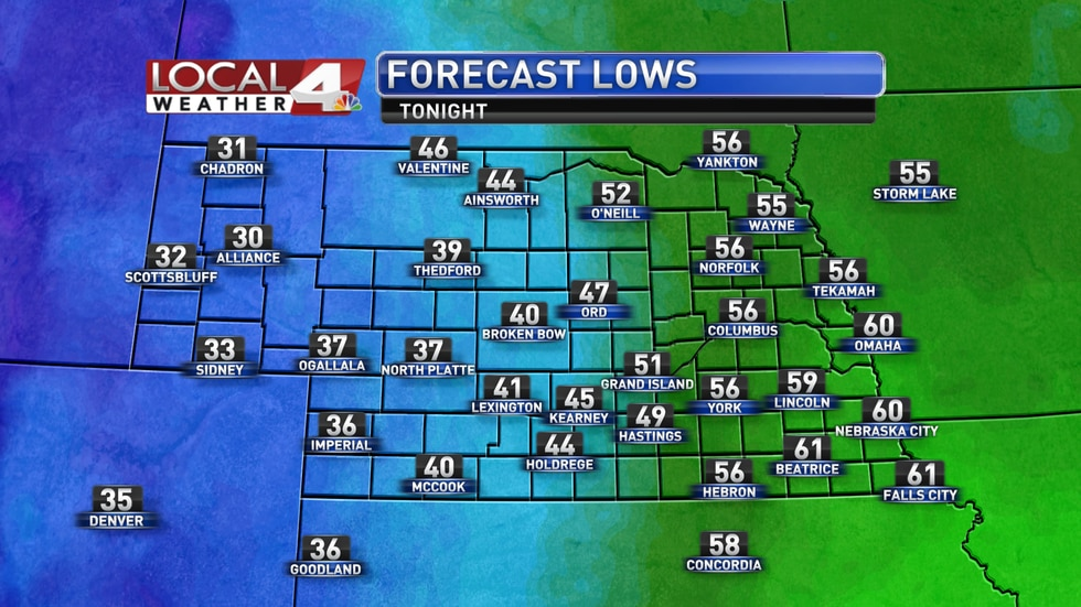 Lows will fall to the 30s, 40s, and 50s for most of the state on Wednesday morning.