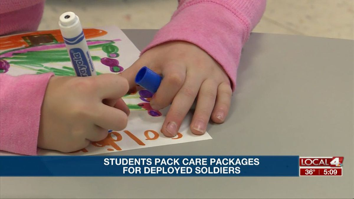 Students took time to pick out the perfect things to put in their care packages that will be sent to soldiers overseas. (KSNB)
