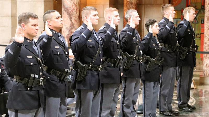 The members of the 62nd Basic Recruit Class in Nebraska State Patrol history received their...