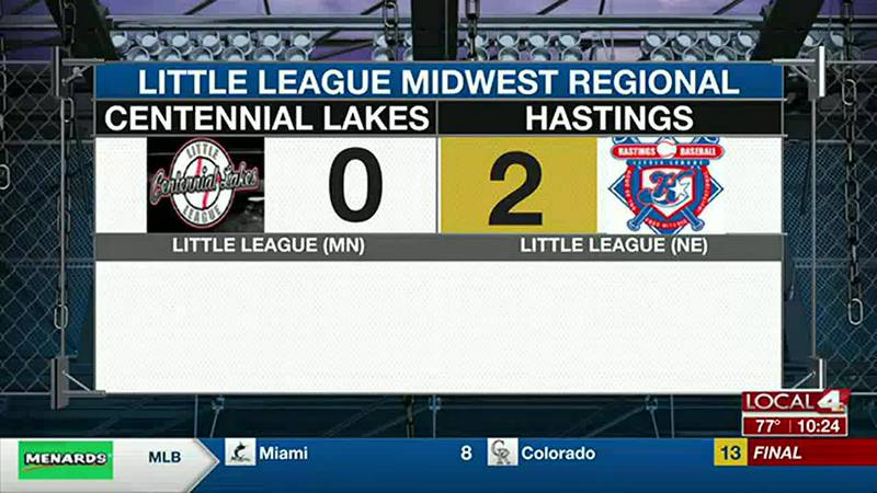 Sunday evening sports recap featuring Hastings baseball team competing in the Little League...