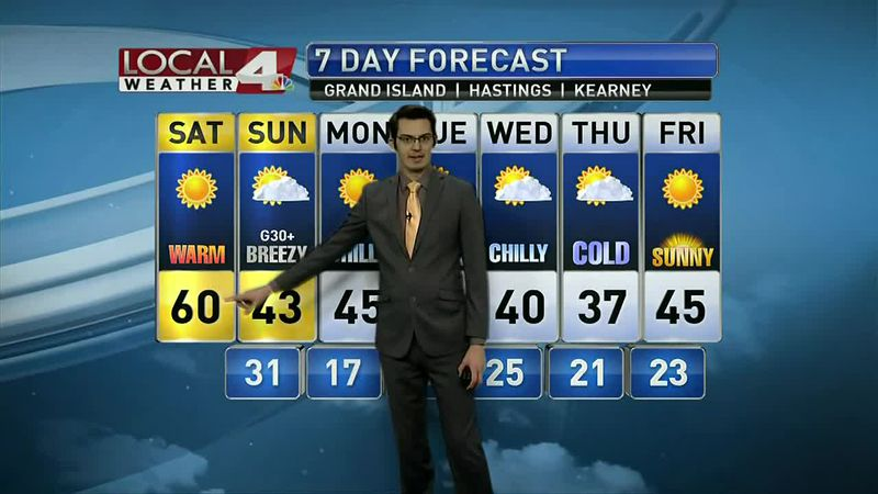 Saturday will be very warm, but we're looking at 40s or lower for the rest of next week.