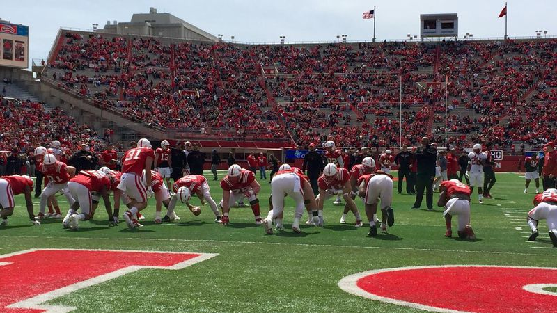 Husker players warm up on Tom Osborne Field before the Nebraska Red-White Spring Game on...