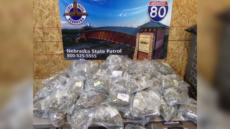Troopers with the Nebraska State Patrol have arrested a California man after finding nearly 50...