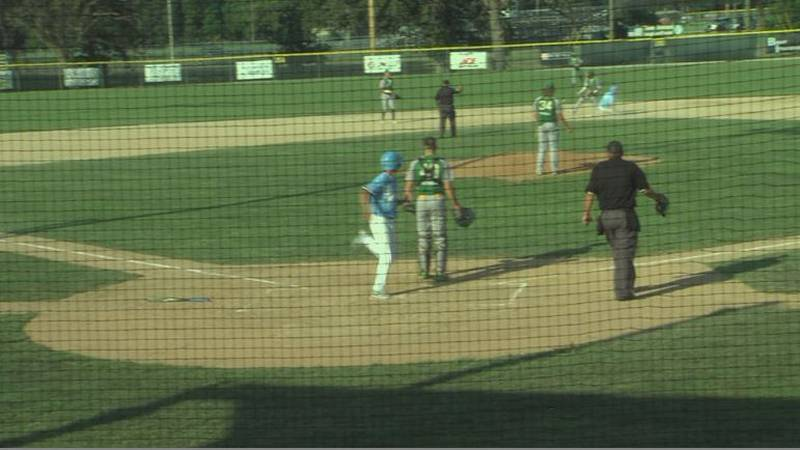 Alliance scores a run against Central City in the second round of the Class B State Tournament.
