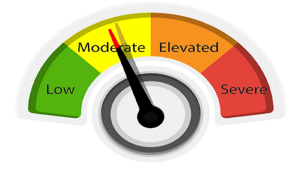 The South Heartland COVID-19 risk dial is now at the midway point of the Moderate rating.