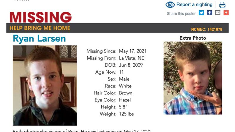 The National Center for Missing and Exploited Children issued a poster for Ryan Larsen, who has...