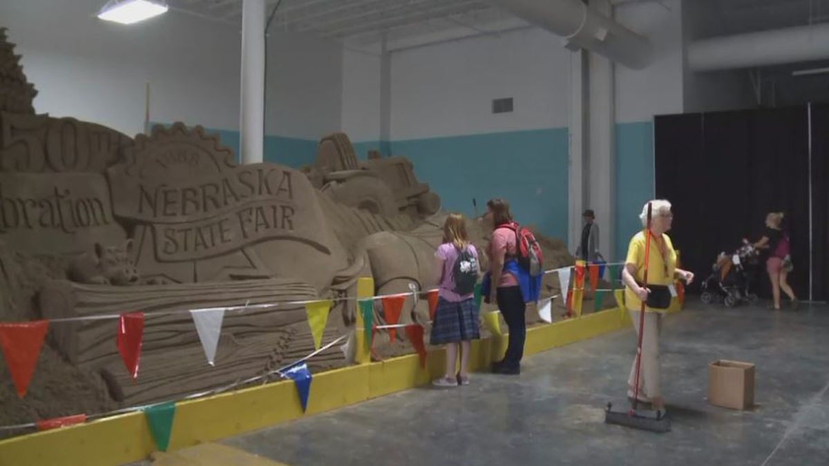 To mark the 150th year of the State Fair, the sand sculpture mixes old and new aspects of...