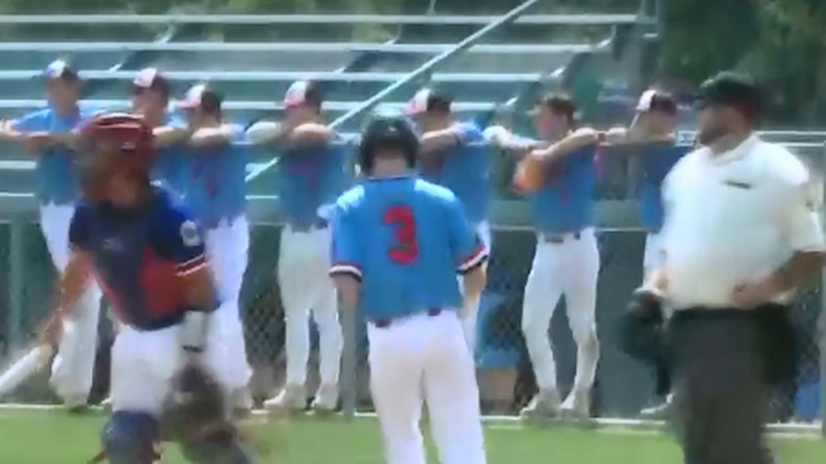 Josh Brooks crosses home plate for Hastings Five Points Bank Chiefs