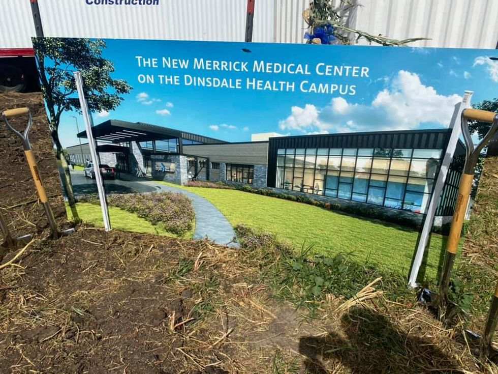 A drawing of the future Merrick Medical Center sat on display during the ground breaking on Monday.