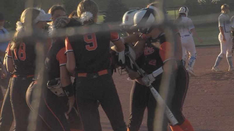 Hastings softball hits a home run against GICC.