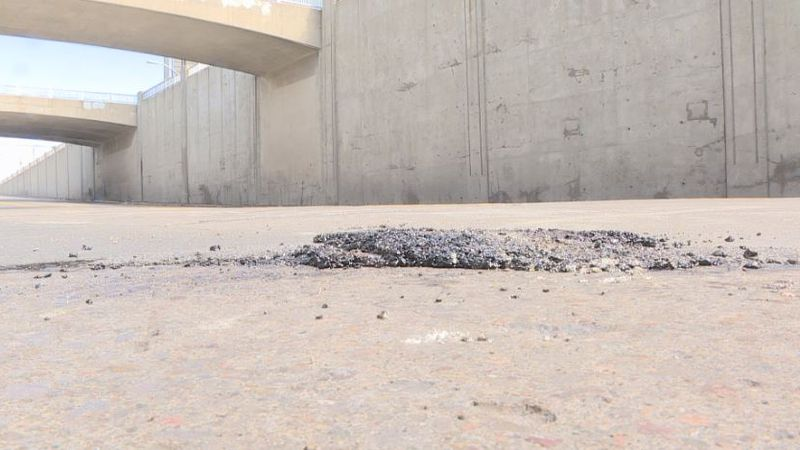 The city closed down Eddy Street and Sycamore overpasses on Wednesday to fill potholes.