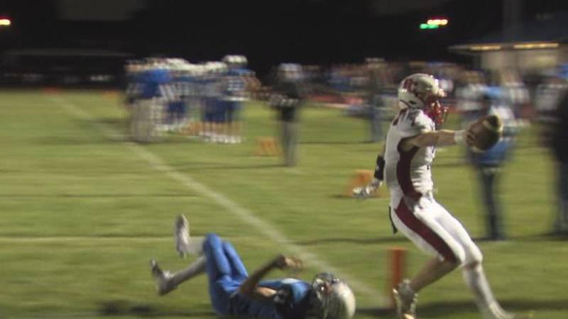 Triston Hite scores a touchdown for Perkins County