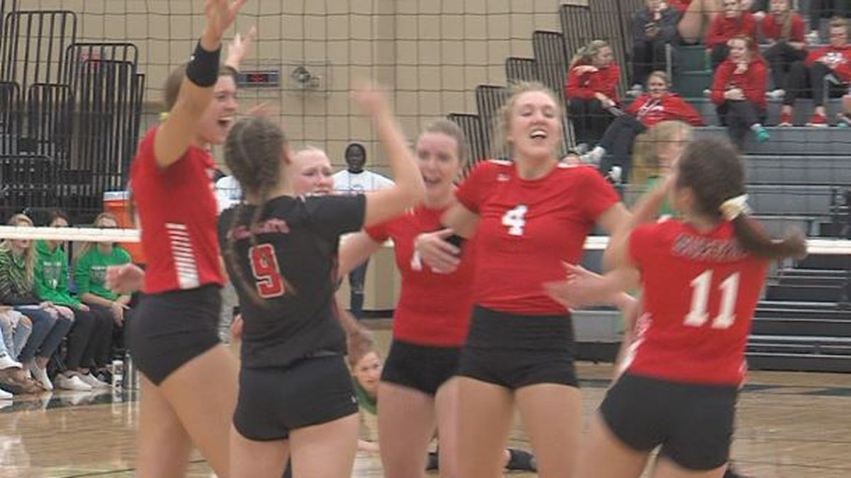 Superior celebrates after scoring against Wisner-Pilger at the State Tournament