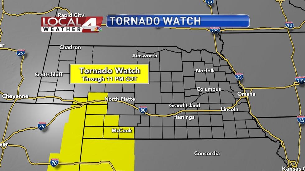 A tornado watch is in place across southwestern Nebraska through 11 PM CDT.