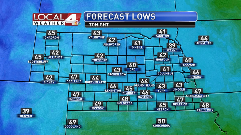 Look for lows in the low to mid 40s for most of the area into Tuesday morning.