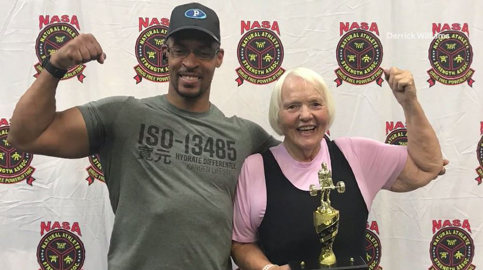 Linda Patterson, pictured with her trainer, Derrick Williams, participated in the squat, bench...
