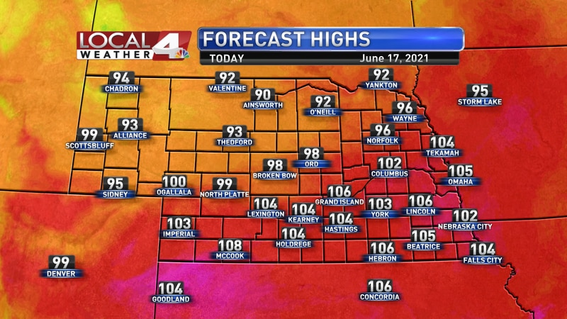 Temperatures will be well into the 100s again on Thursday.